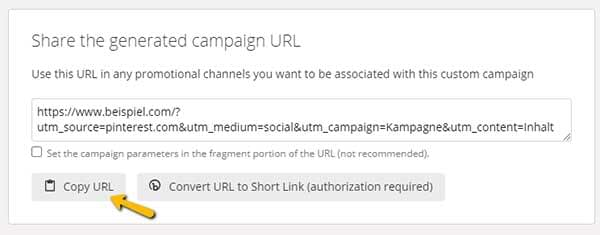 Screenshot UTM URL im Campaign URL Builder