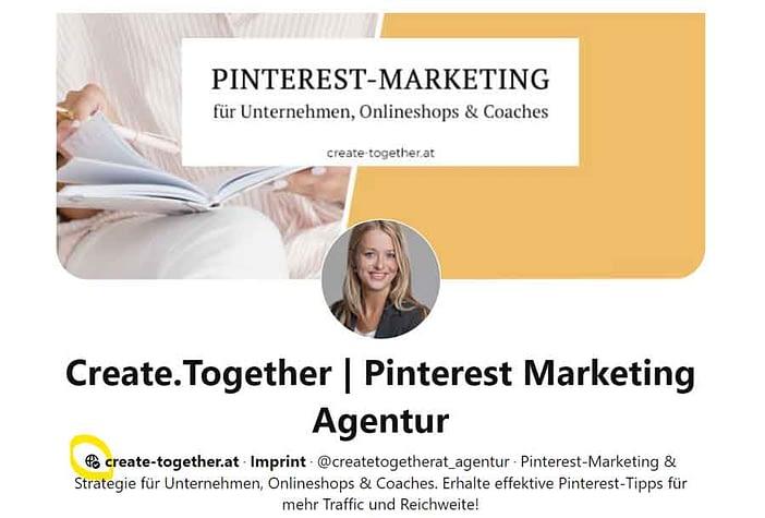Screenshot Pinterest-Unternehmensprofil