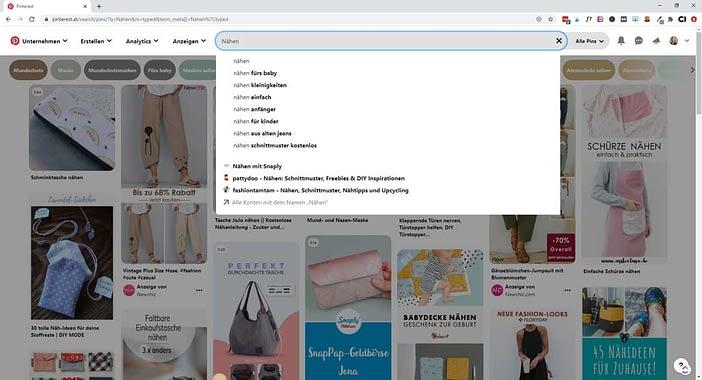 Screenshot Pinterest Keyword Recherche, Suchphrasen finden