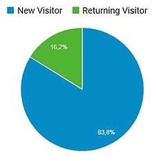 Screenshot Google Analytics, Pinterest-Nutzer, Anteil neue vs. wiederkehrende Nutzer