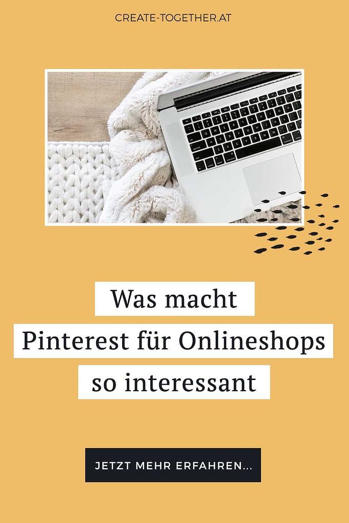 """Laptop auf Decke mit Textoverlay """"Was macht Pinterest für Onlineshops so interessant"""""""