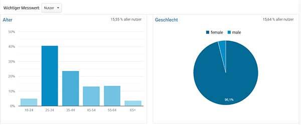 Screenshot Google Analytics, zeigt demografische Merkmale der Pinterst-Nutzer
