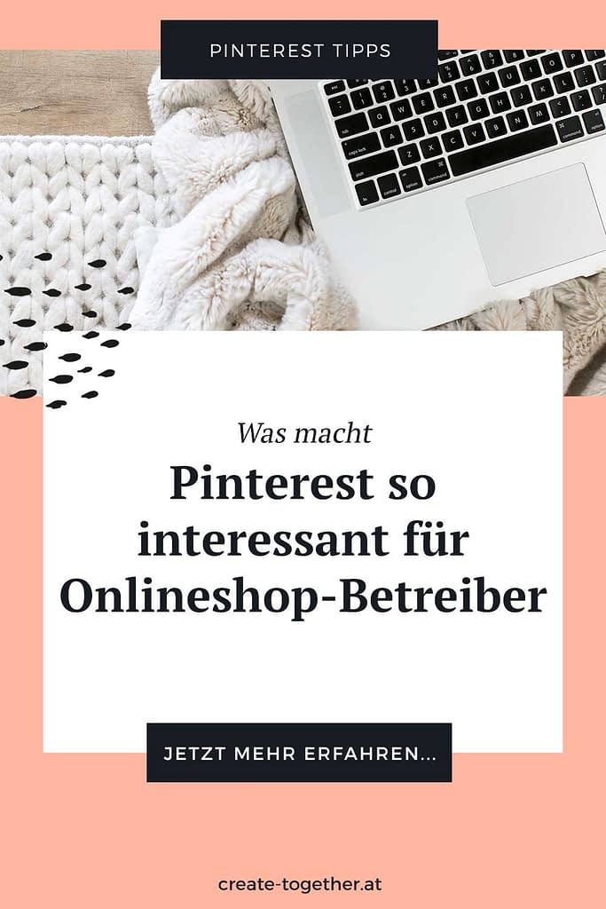 """Laptop auf Decke mit Textoverlay """"Was macht Pinterest so interessant für Onlineshop-Betreiber"""""""