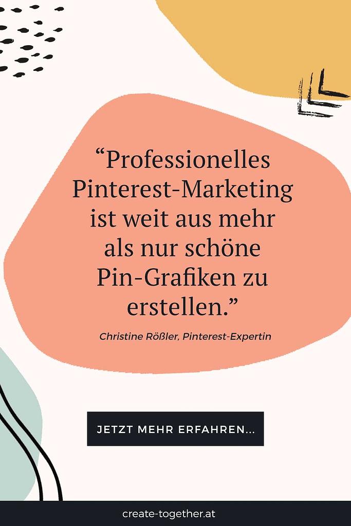 """grafische Elemente mit Textoverlay """"Pinterest für Unternehmen kosten"""""""