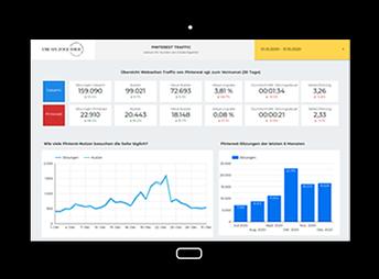 Tablet mit Screenshot vom Pinterest Dashboard mit einer visuellen Darstellung des Pinterest-Traffics