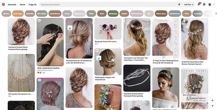 Screenshot Pinterest Suche von Haarschmuck für Brautfrisur