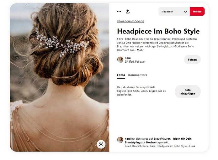 Screenshot Pinterest Haarschmuck