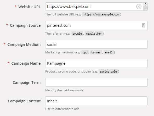 Screenshot Campaign URL Builder