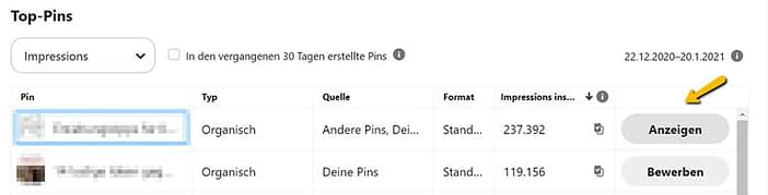 Screenshot Pinterest-Analytics, Bericht Top Pins