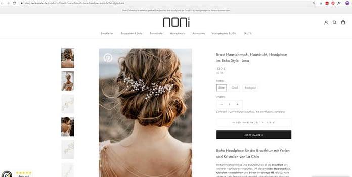 Screenshot Onlineshop für Haarschmuck